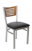 Silver Metal Chair with 5 Slats Back
