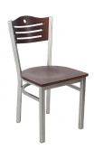 Silver Metal Chair with Slats & Circle Back