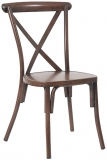 Stackable Metal X-Back Chair in Walnut Finish
