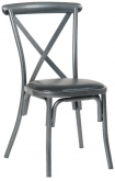 Stackable Metal X-Back Chair in Silver Vein Finish