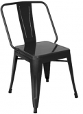 Extra Wide Bistro Style Metal Chair in Black Finish