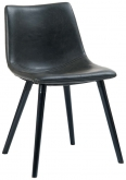 Vintage Style Metal Chair with Black Padded Seat and Back