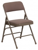 Curved Triple Braced Upholstered Metal Folding Chair
