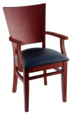 Premium Curved Back Wood Chair with Arms